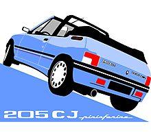 Peugeot 205 CJ cabriolet light blue Photographic Print
