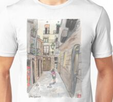 An urban sketch in Barcelona's El Born neighborhood Unisex T-Shirt