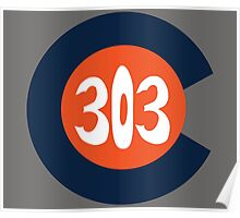 Hand Drawn Colorado Flag 303 Area Code Broncos Poster