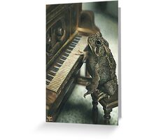 Frog playing the Piano, drawing Greeting Card