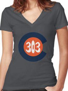 Hand Drawn Colorado Flag 303 Area Code Broncos Women's Fitted V-Neck T-Shirt