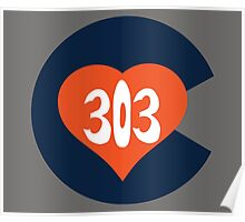 Hand Drawn Colorado Heart Flag 303 Area Code Broncos Poster