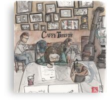 An urban sketch at Cafe Trieste Canvas Print