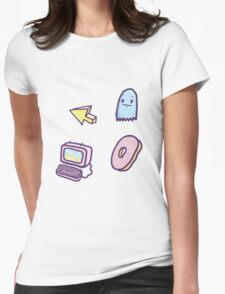 Mouse Donut Computer Ghost Stickers Womens Fitted T-Shirt