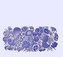 Vintage Blue Flowers on Pale Background by Greenbaby