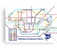 Epic Mythical Creatures Underground Map Canvas Print