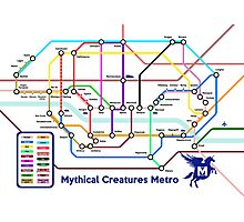 Epic Mythical Creatures Underground Map Photographic Print