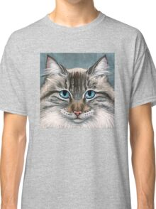 Blue Eyed Maine Coon, painting Classic T-Shirt