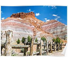 Tecnicolor Cliffs and Fence at Pariah, Utah Poster
