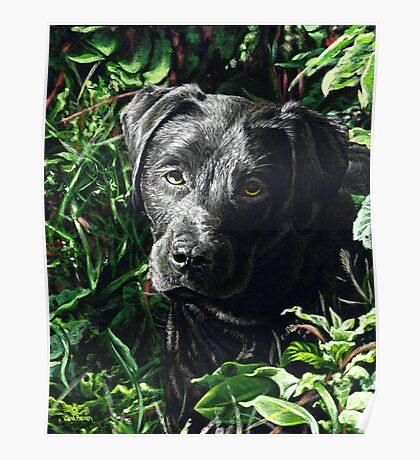 Cute Black Lab puppy, painting Poster
