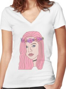 The Girl With The Flower Crown (Pink) Women's Fitted V-Neck T-Shirt