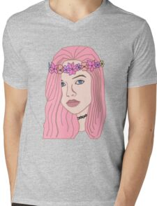 The Girl With The Flower Crown (Pink) Mens V-Neck T-Shirt