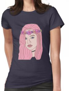 The Girl With The Flower Crown (Pink) Womens Fitted T-Shirt