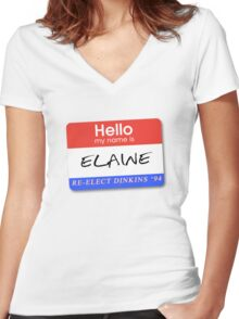 Re-Elect Dinkins - Elaine Women's Fitted V-Neck T-Shirt