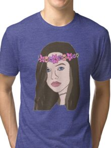 The Girl With The Flower Crown (Brunette)  Tri-blend T-Shirt