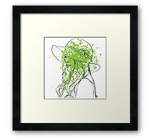 woman with green explosion Framed Print