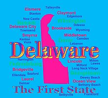 Colorful Delaware State Pride Map Silhouette  by KWJphotoart