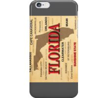 Antique Florida State Pride Map Silhouette  iPhone Case/Skin