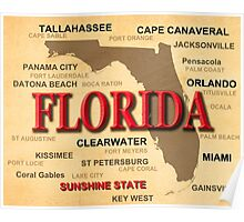 Antique Florida State Pride Map Silhouette  Poster