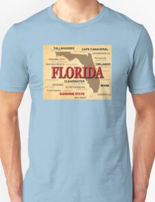Antique Florida State Pride Map Silhouette  Unisex T-Shirt