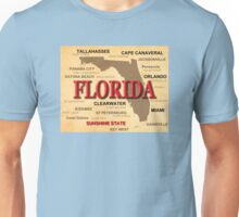 Antique Florida State Pride Map Silhouette  Unisex T-Shirt