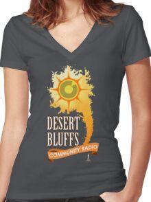 Desert Bluffs Community Radio Women's Fitted V-Neck T-Shirt