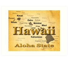 Aged Hawaii State Pride Map Silhouette  Art Print