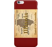 Aged Illinois State Pride Map Silhouette  iPhone Case/Skin