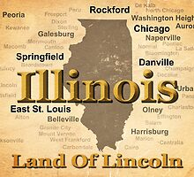 Aged Illinois State Pride Map Silhouette  by KWJphotoart