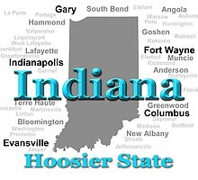 Indiana State Pride Map Silhouette  by KWJphotoart