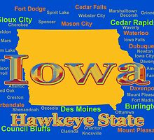 Colorful Iowa State Pride Map  by KWJphotoart