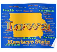 Colorful Iowa State Pride Map  Poster