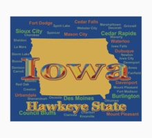 Colorful Iowa State Pride Map  Kids Clothes