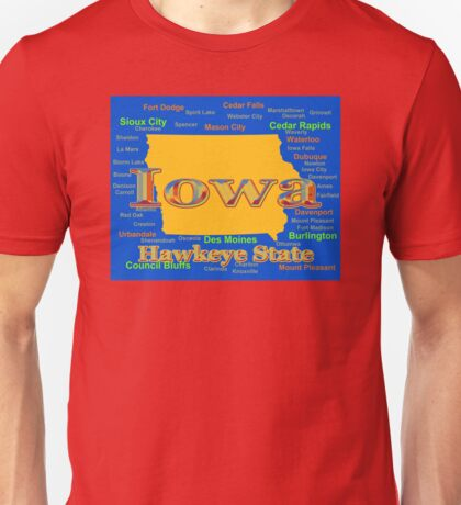 Colorful Iowa State Pride Map  Unisex T-Shirt