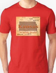Aged Kansas State Pride Map Silhouette  T-Shirt