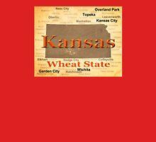 Aged Kansas State Pride Map Silhouette  Unisex T-Shirt