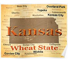 Aged Kansas State Pride Map Silhouette  Poster