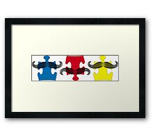 MUSTACHE PUZZLE Framed Print
