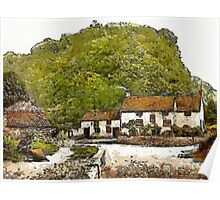 A digital painting of Sir Francis Drake's House (Blakeney) near Severn Bridge, Gatcombe, England 19th century Poster