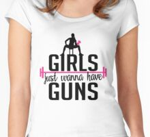 Fitness: Girls just wanna have guns Women's Fitted Scoop T-Shirt