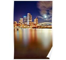 Pittsburgh Night Reflection Poster