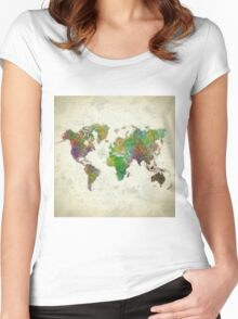 World Map Color Women's Fitted Scoop T-Shirt