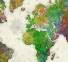 World Map Color Sticker