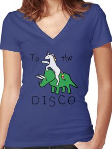 To The Disco (Unicorn Riding Triceratops) Women's Fitted V-Neck T-Shirt