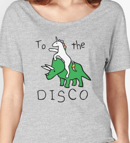To The Disco (Unicorn Riding Triceratops) Women's Relaxed Fit T-Shirt
