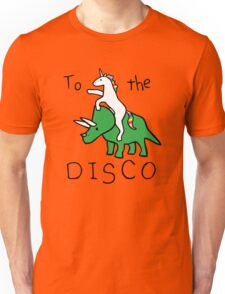 To The Disco (Unicorn Riding Triceratops) Unisex T-Shirt
