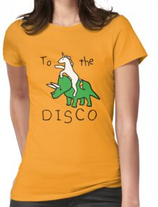 To The Disco (Unicorn Riding Triceratops) Womens Fitted T-Shirt