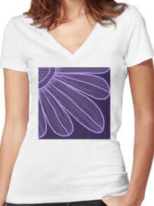 Purple Flower Women's Fitted V-Neck T-Shirt