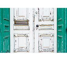 Green White Door Rustic Door Photographic Print