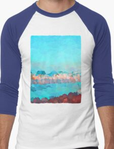 Turquoise Waves Rolling In Men's Baseball ¾ T-Shirt